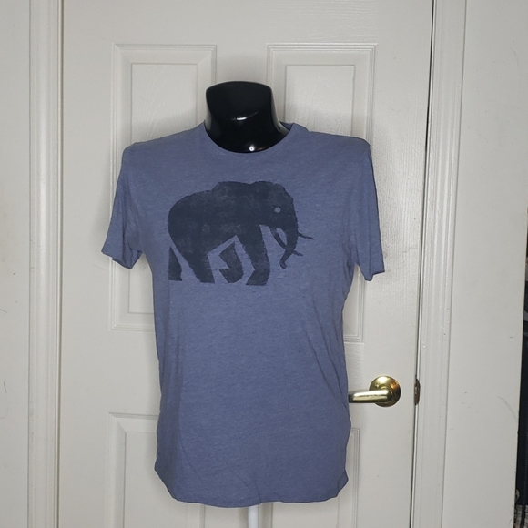 🤯3/$12 Banana Republic Elephant Shirt Blue Gray M
